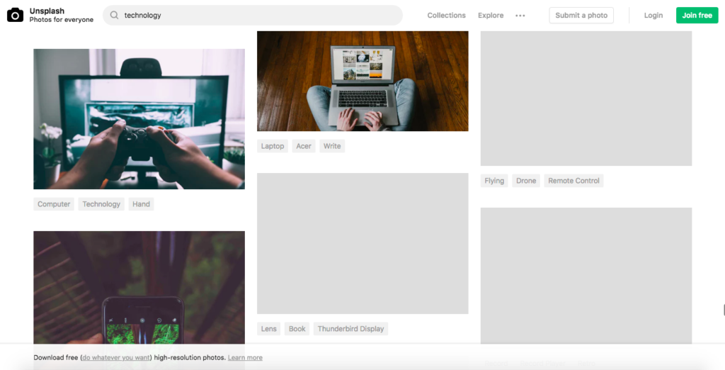 Screenshot of Unsplash images loading